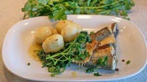 1.盘子里的鱼和蔬菜