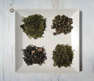 四种绿茶一盘