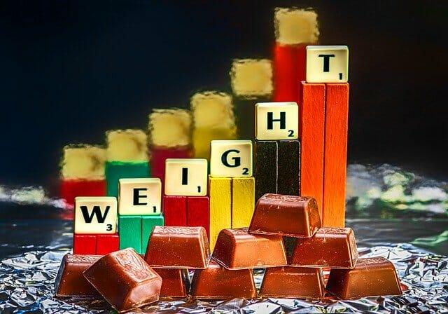 巧克力棒和巧克力条显示体重增加