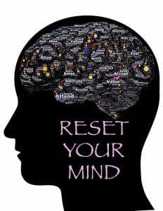 插图显示了头部、大脑的轮廓和铭文:重置你的思想。