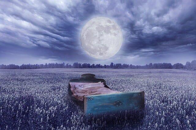 梦中的现实--草地上的床,月圆之夜