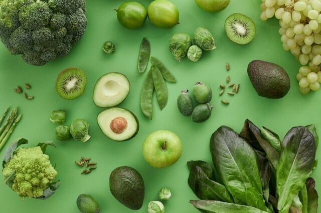 绿色水果和蔬菜